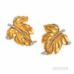 Pair of 14kt Gold, Platinum, and Diamond Leaf-form Clip Brooches