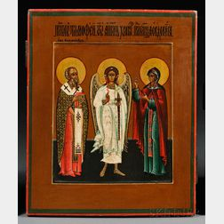 Russian Icon of St. Timothy and St. Eudokia with the Guardian Angel
