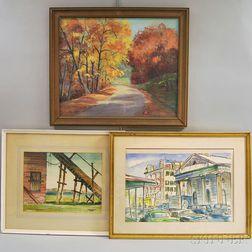 Three Framed Landscapes:      Karl H. Buesgen (American, 1917-1981), Red and Gold