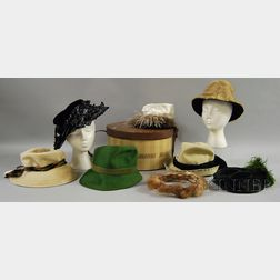 Eight Vintage Hats and/or Headwear