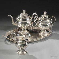 Three-piece William Thomson Coin Silver Tea Service