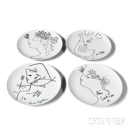 Four Jean Cocteau (1889-1963) Designed Plates