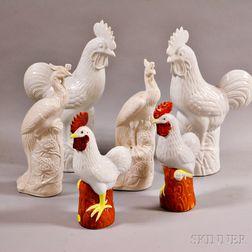 Three Pairs of Asian Porcelain Birds