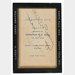 Peary, Commander Robert Edwin (1856-1920) and Captain Robert Falcon Scott (1868-1912) Invitation Signed, 4 May 1910.
