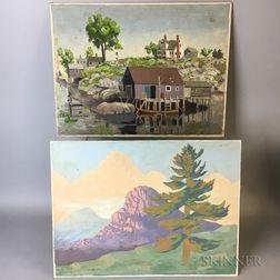 Maxfield Parrish Jr. (American, 1906-1983)      Two Works: Hood's Mile Calendar