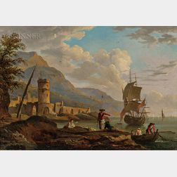 Attributed to Victor De Grailly (French/Amerian, 1804-1889)      European Harbor Scene