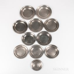 Eleven American Pewter Plates