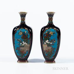 Pair of Small Black Cloisonné Vases