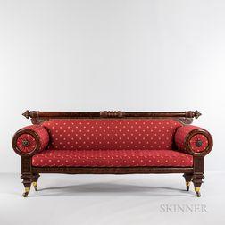 Classical Carved Mahogany and Mahogany Veneer Sofa