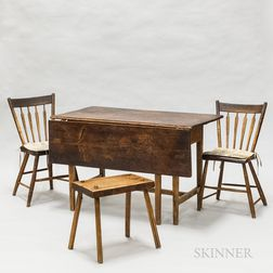 Country Federal Pine Gate-leg Drop-leaf Table, Pair of Arrow-back Side Chairs, and a Primitive Stool
