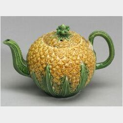 Staffordshire Lead Glazed Creamware Pineapple Teapot and Cover