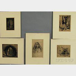 Addison T. Millar (American, 1860-1913)      Five Orientalist Prints:   Views of Algiers
