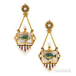 Antique Gold and Reverse-painted Crystal Aquarium Earpendants