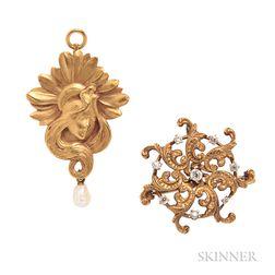 Two Art Nouveau 14kt Gold Pendant/Brooches