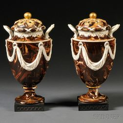 Pair of Wedgwood Surface Agate Potpourri Vases and Covers