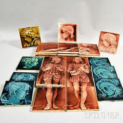 Twenty-five Trent Tile Co. Ceramic Figural Tiles