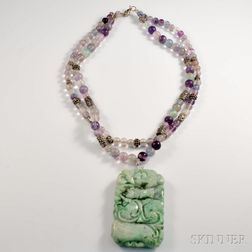 Chinese Carved Hardstone Pendant on a Double-strand Bead Necklace