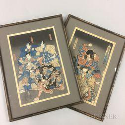 Two Utagawa Kunisada (Toyokuni III, 1786-1865) Woodblock Prints
