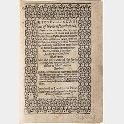 Monardes, Nicolás (c. 1512-1588) Ioyfull Newes out of the Newfound World, wherein are Declared the Rare and Singular Vertues of Divers