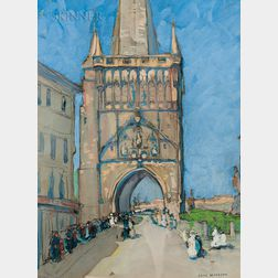 Jane Peterson (American, 1876-1965)      Bridge Tower, Prague