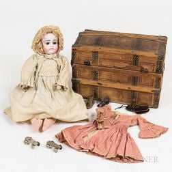 Bisque-head Doll and a Painted Wood Trunk for Doll Paraphernalia