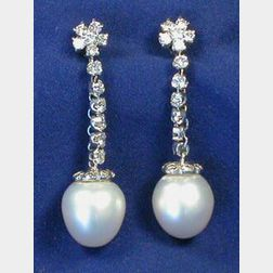14kt Gold, Diamond, and Cultured Pearl Earrings