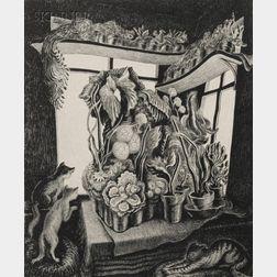 Wanda Gag (American, 1893-1946)      Winter Garden (Cats and Flowers)