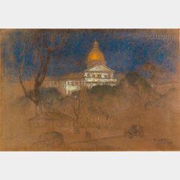 Everett Shinn (American, 1876-1953)      Lot of Three Drawings: The State House, Boston