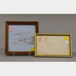 Small Framed 19th Century Pen, Ink, and Pencil Drawing a Horse with Bridle in a Landscape and a Framed 1864 Pen...