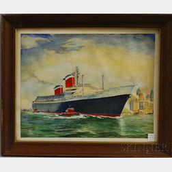 American School, 20th Century      View of the SS United States   Passenger Ocean Liner in New   York Harbor.
