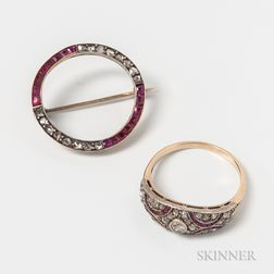 14kt Gold, Diamond, and Ruby Ring and Circle Brooch