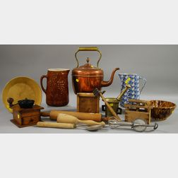 Group of Assorted Ceramic, Wooden, and Metal Kitchen Items