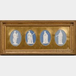 Framed Group of Four Wedgwood and Bentley Solid Blue Jasper Plaques