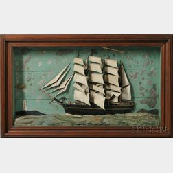 Large Carved and Painted Diorama of a Square-rigged Four-masted Vessel