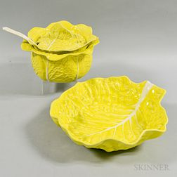 Portuguese Yellow Cabbage Ceramic Lidded Tureen and Bowl.     Estimate $20-200