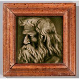 Framed Kensington Art Tile Co. Art Pottery Portrait Tile