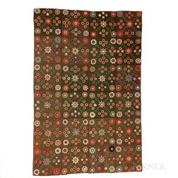 Appliqued and Floral-embroidered Penny Rug