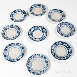 Nine Dedham Pottery Bread and Butter Plates