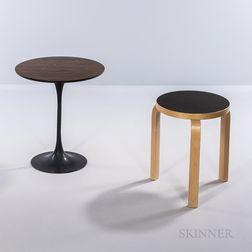 Alvar Aalto Stool and an Eero Saarinen Tulip Side Table