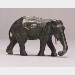 Small Bronze Figure of an Elephant