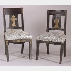 Set of Seven Empire Revival Brass-Mounted and Ebonized Side Chairs