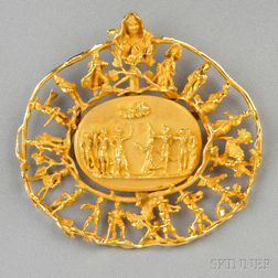 14kt Gold Pendant/Brooch, Eric De Kolb