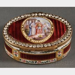 French Enameled Oval Snuff Box
