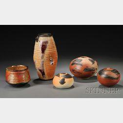 Five Vivika & Otto Heino Wood-fired Stoneware and Porcelain Pieces