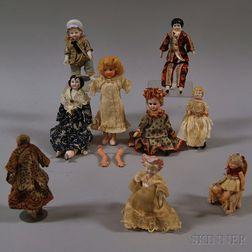 Nine Assorted Dollhouse Dolls