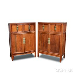 Pair of Asian Hardwood Cabinets