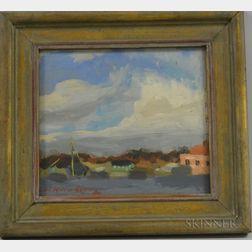 American School, 20th Century      Coastal View Oil Sketch