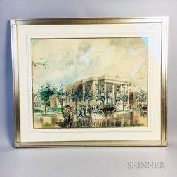 "Framed Watercolor Architectural Rendering ""Elks Club, Goshen,"""