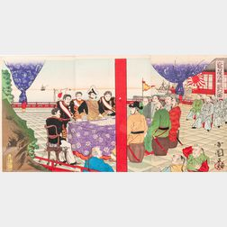 Utagawa Kokunimasa (1874-1944) Triptych Woodblock Print