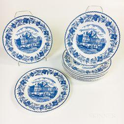 "Set of Twelve Wedgwood ""Massachusetts General Hospital"" Blue Transfer-decorated Plates"